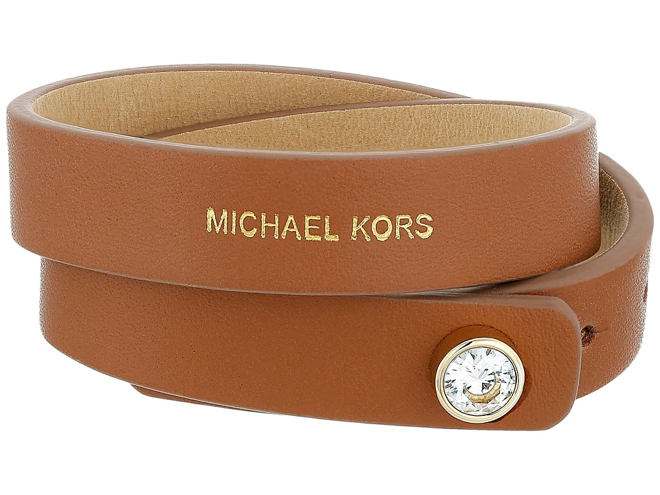 Michael Kors - Astor Leather Double Wrap CZ Bracelet (Gold) Bracelet