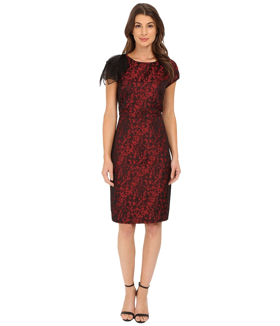 Anne Klein - Animal Jacquard Sheath with Organza Sleeve Detail Dress (Black/Memling Red) Women's Dress