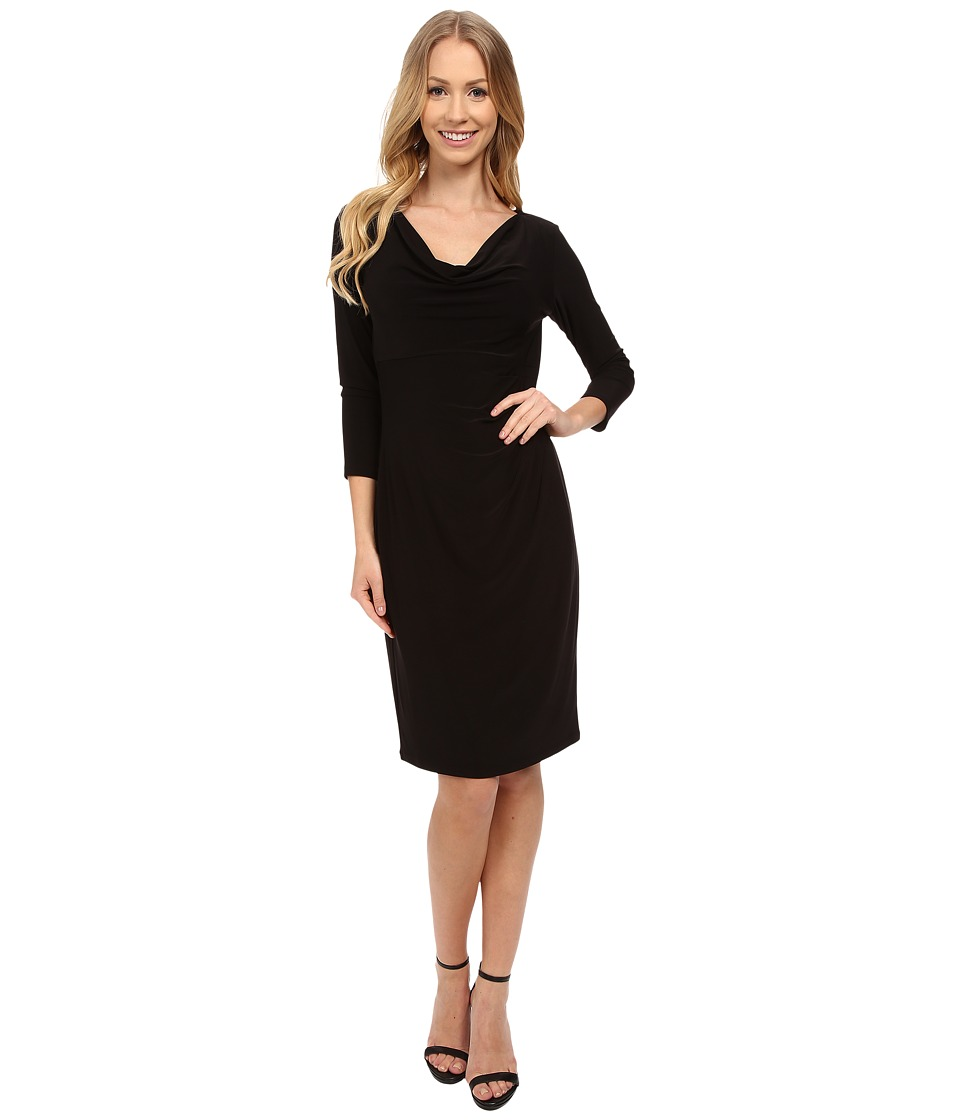Anne Klein - 3/4 Sleeve Cowl Neck Jersey Dress (Black) Women's Dress
