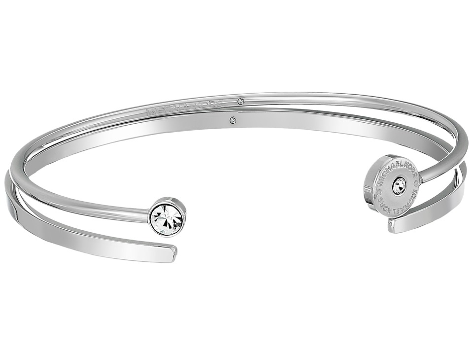 Michael Kors - Logo Disc Pave Open Cuff Set of 2 (Silver) Bracelet