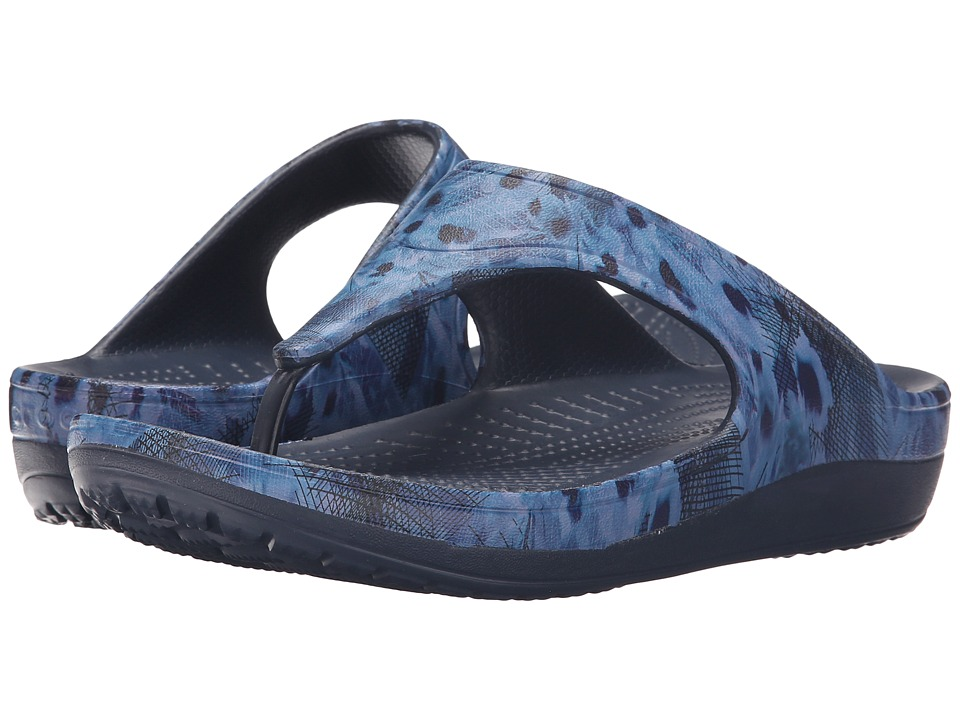Crocs - Sloane Soft Floral Flip (Navy) Women's Slide Shoes