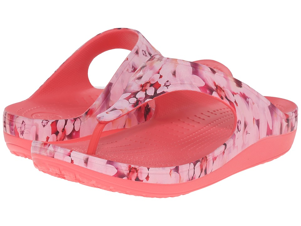 Crocs - Sloane Soft Floral Flip (Coral) Women's Slide Shoes