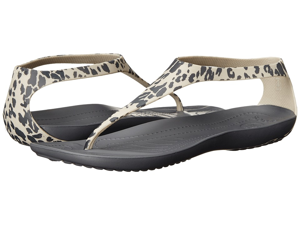 Crocs - Sexi Leopard Print Flip (Charcoal) Women's Slide Shoes