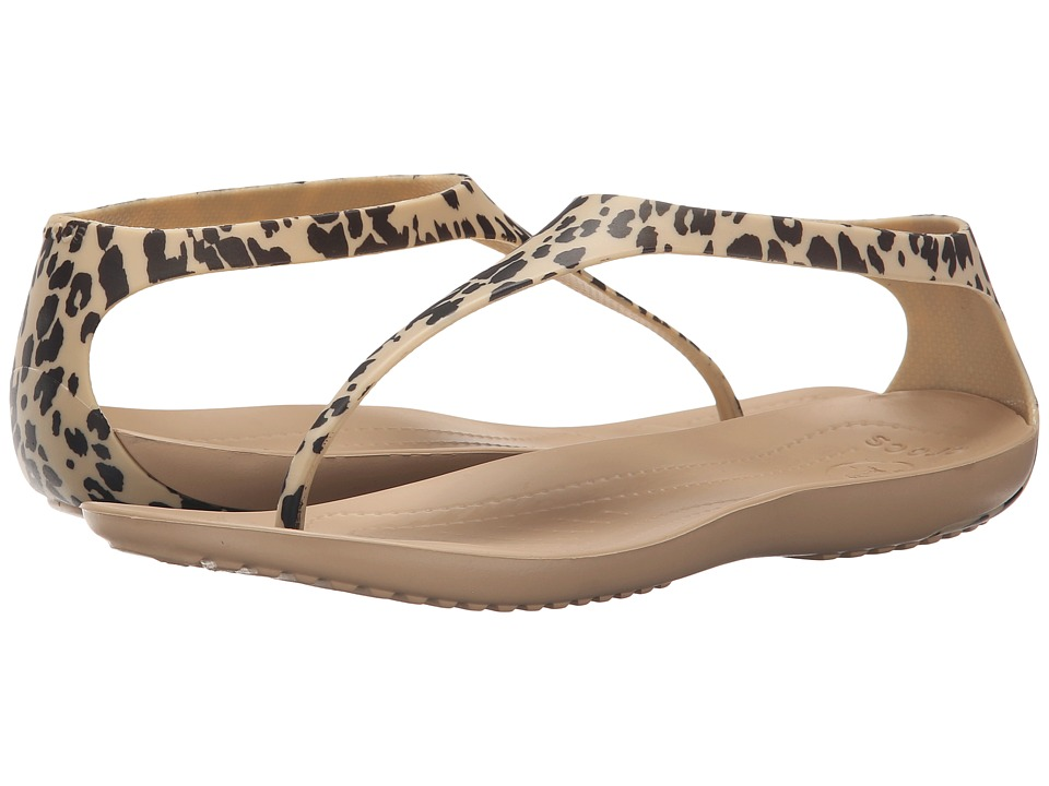 Crocs - Sexi Leopard Print Flip (Gold) Women's Slide Shoes