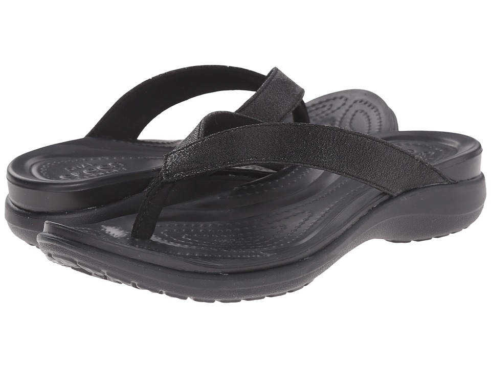 Crocs - Capri V Shimmer Flip (Black) Women's Slide Shoes