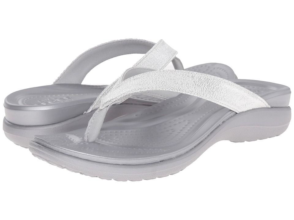 Crocs - Capri V Shimmer Flip (Silver) Women's Slide Shoes