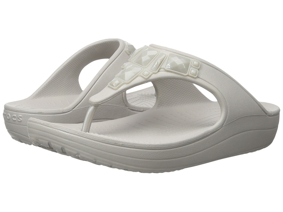 Crocs - Sloane Crystal Flip (Platinum) Women's Slide Shoes