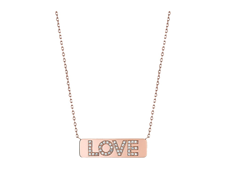 Michael Kors - Short Pave Love Plaque Pendant (Rose Gold) Necklace