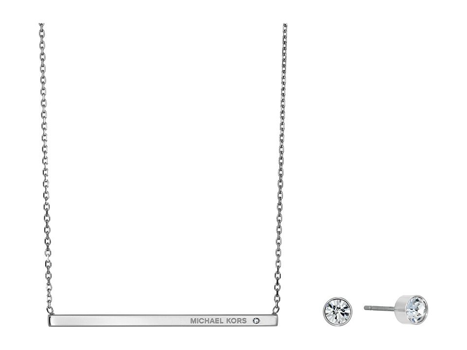 Michael Kors - Logo Bar Necklace Stud Earrings Set (Silver) Jewelry Sets
