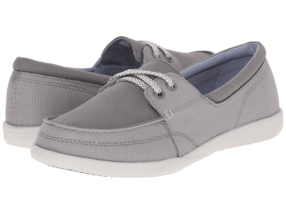 Crocs - Walu II Canvas Skimmer (Concrete/Pearl White) Women's Shoes