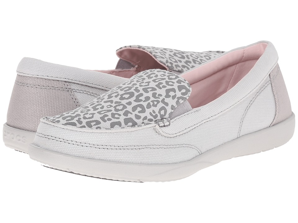 Crocs - Walu II Leopard Print Loafer (Light Grey/Pearl White) Women's Slip on Shoes