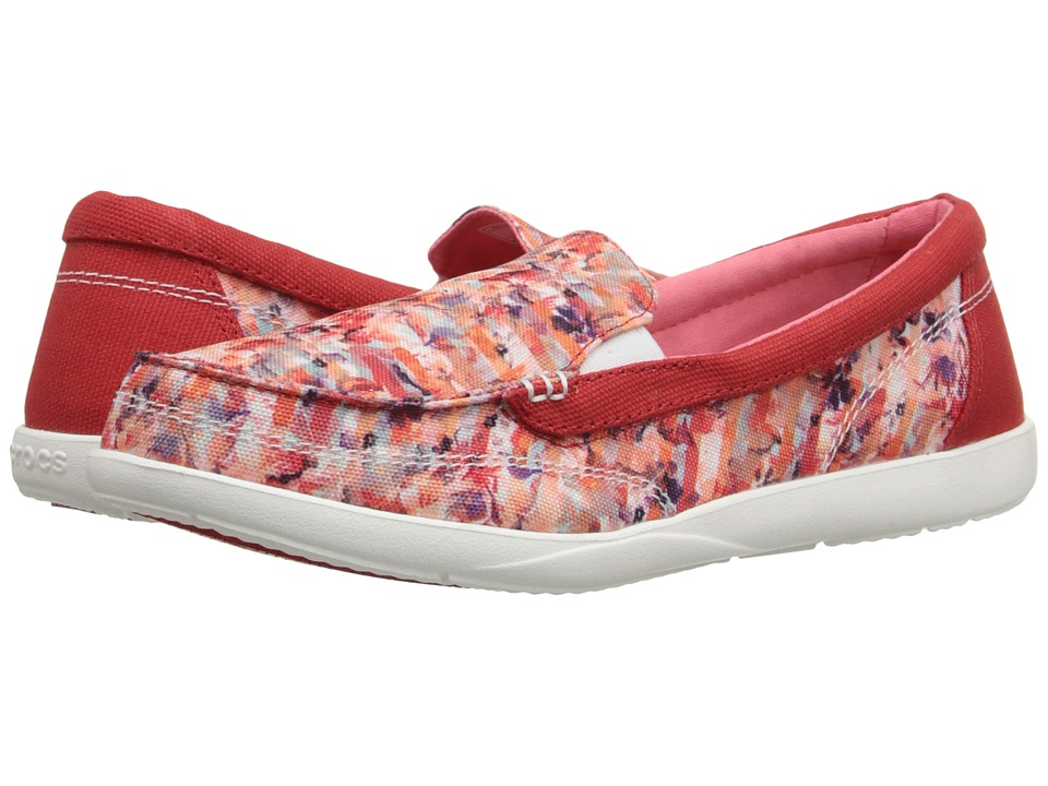 Crocs - Walu II Striped Floral Loafer (Multi/White) Women's Slip on Shoes