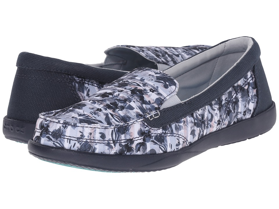 Crocs - Walu II Striped Floral Loafer (Multi/Navy) Women's Slip on Shoes