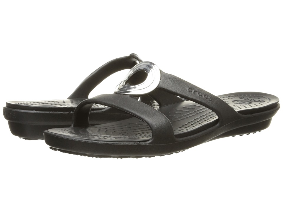 Crocs - Sanrah Beveled Circle Sandal (Black/Black) Women's Sandals