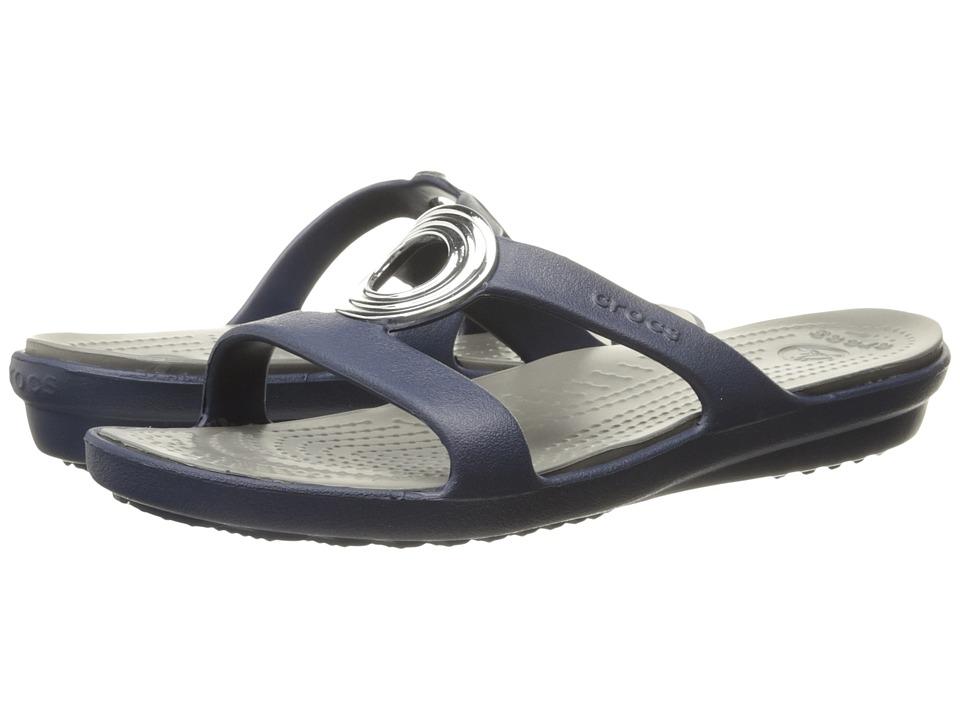 Crocs - Sanrah Beveled Circle Sandal (Natical Navy/Smoke) Women's Sandals