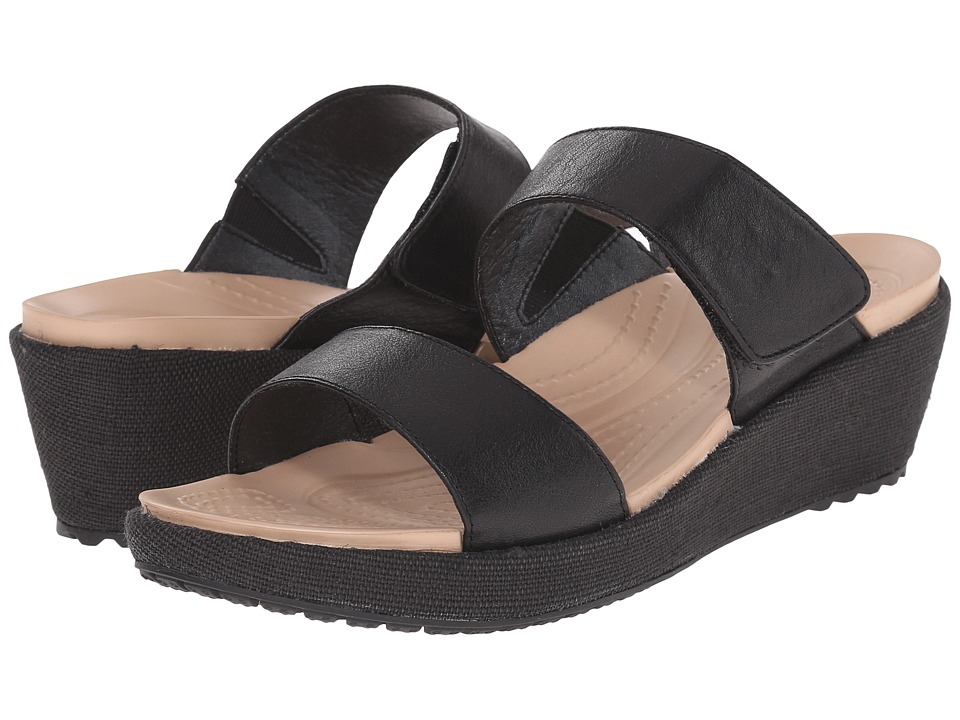 Crocs - A-Leigh 2-Strap Mini Wedge (Black/Black) Women