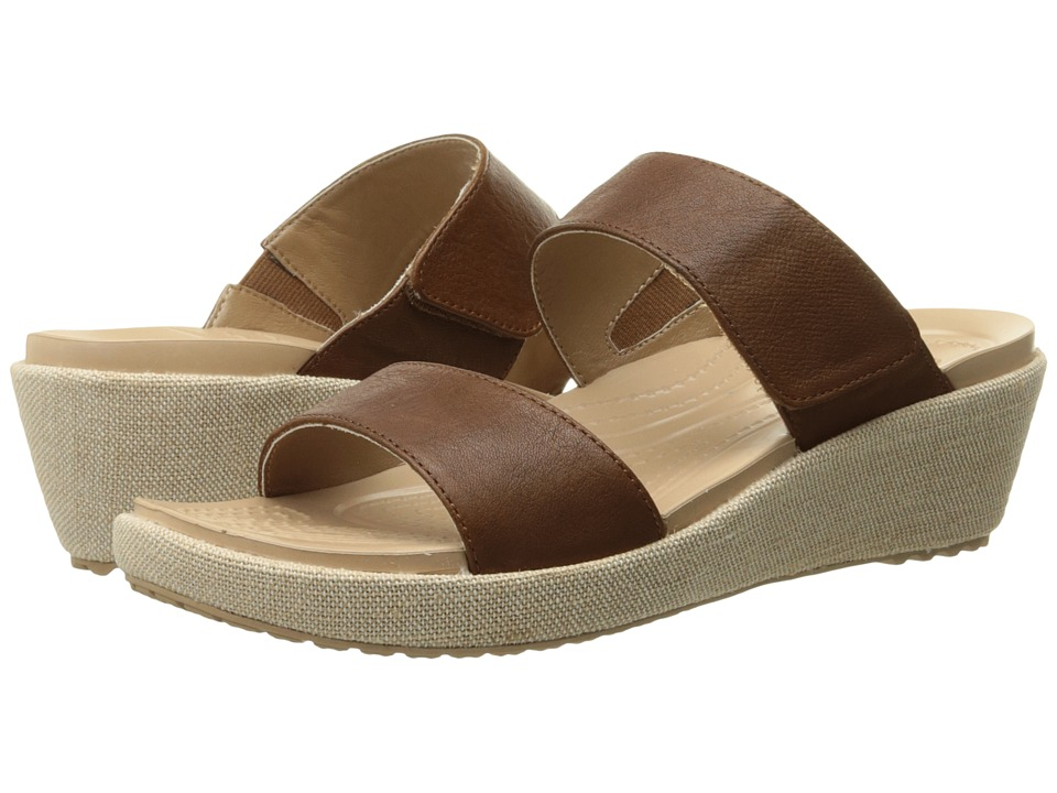 Crocs - A-Leigh 2-Strap Mini Wedge (Hazelnut/Chai) Women