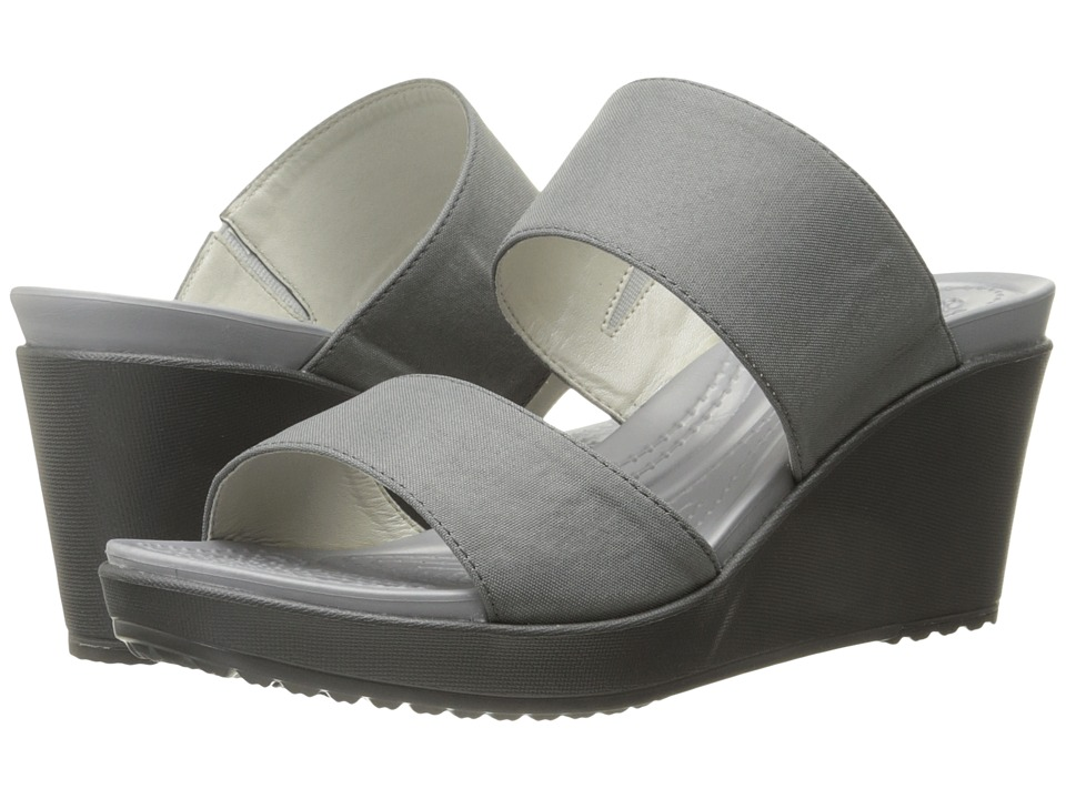 Crocs - Leigh II 2-Strap Wedge (Silver/Graphite) Women's Wedge Shoes