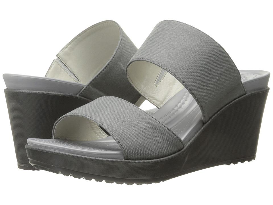Crocs Leigh II 2-Strap Wedge (Silver/Graphite) Women