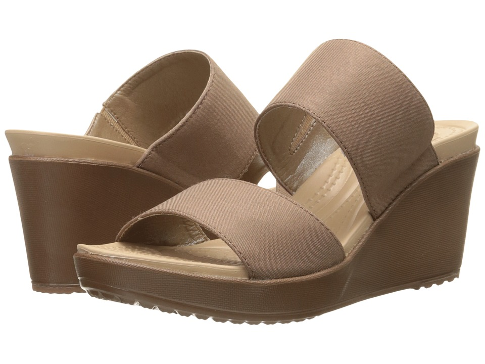 Crocs - Leigh II 2-Strap Wedge (Bronze/Bronze) Women's Wedge Shoes
