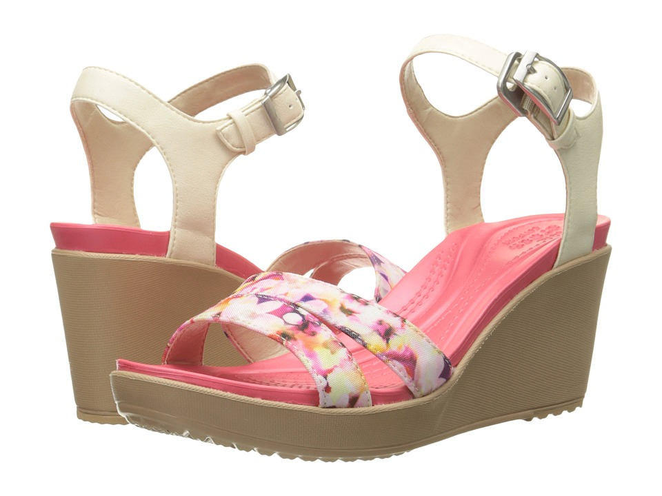 Crocs - Leigh II Ankle Strap Graphic Wedge (Stucco/Gold) Women's Wedge Shoes