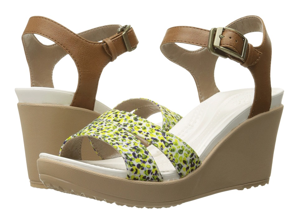 Crocs - Leigh II Ankle Strap Graphic Wedge (Hazelnut/Gold) Women's Wedge Shoes
