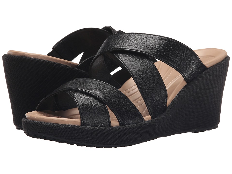 Crocs - A-Leigh Crisscross Wedge (Black/Black) Women's Wedge Shoes