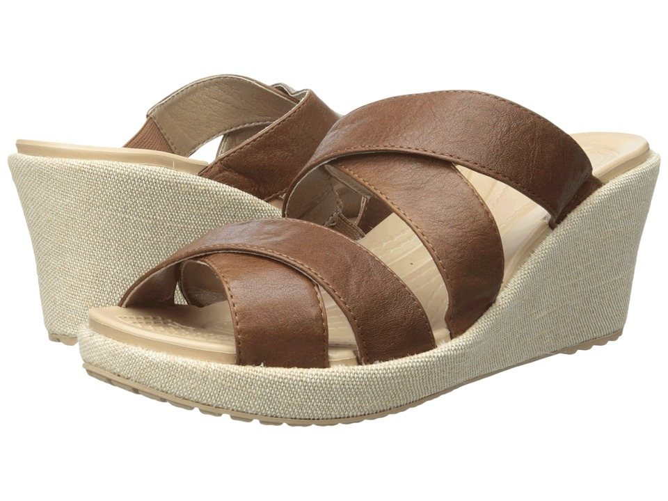 Crocs - A-Leigh Crisscross Wedge (Hazelnut/Chai) Women's Wedge Shoes