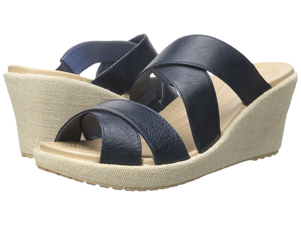 Crocs - A-Leigh Crisscross Wedge (Nautical Navy/Chai) Women's Wedge Shoes