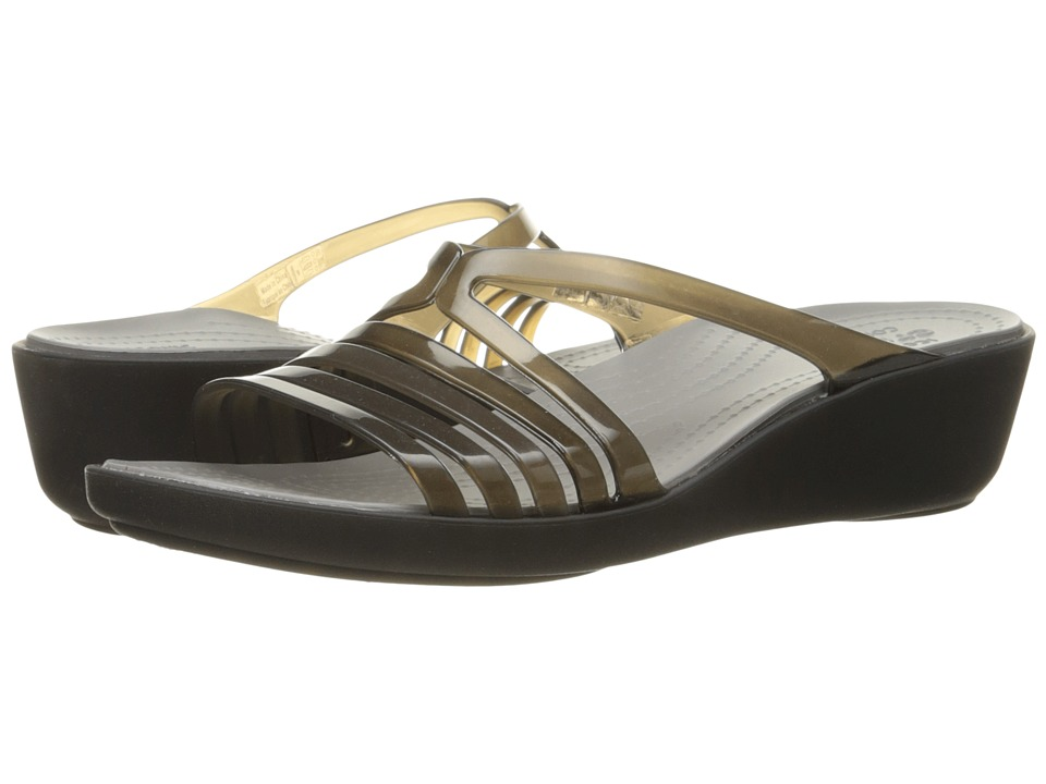 Crocs - Isabella Mini Wedge (Black/Smoke) Women's Wedge Shoes