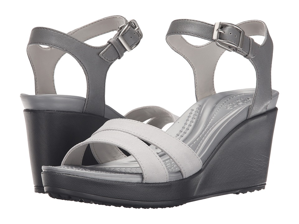 Crocs - Leigh II Ankle Strap Wedge (Smoke/Charcoal) Women's Wedge Shoes