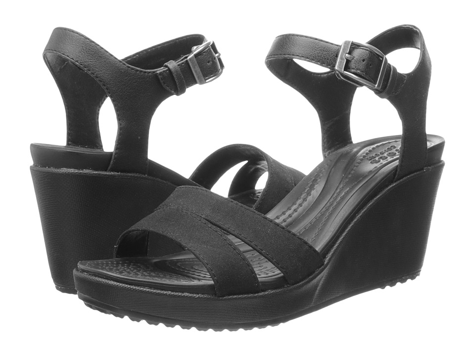 Crocs - Leigh II Ankle Strap Wedge (Black/Black) Women's Wedge Shoes