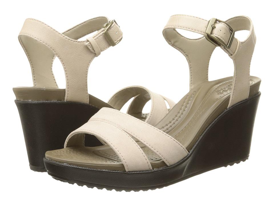 Crocs Leigh II Ankle Strap Wedge (Tumbleweed/Espresso) Women