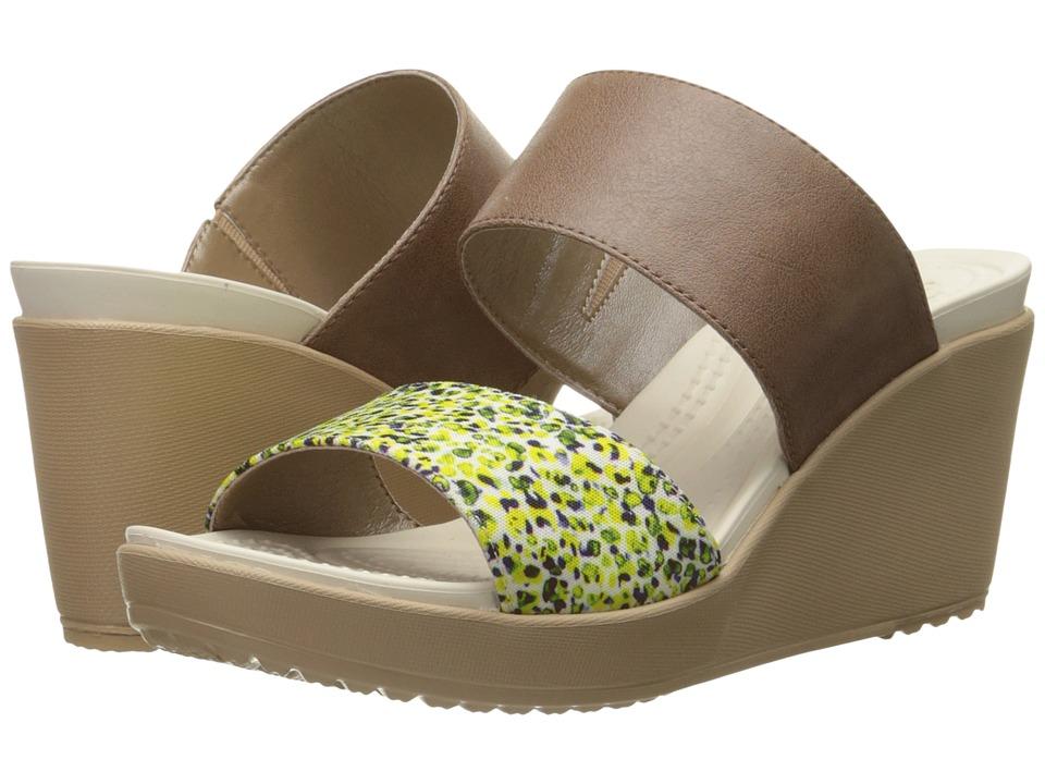 Crocs Leigh II 2-Strap Graphic Wedge (Bronze/Gold) Women