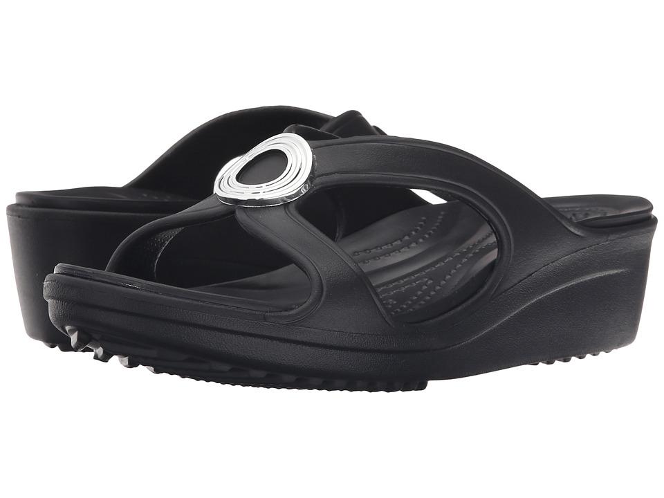 Crocs - Sanrah Beveled Circle Wedge Sandal (Black/Black) Women's Wedge Shoes