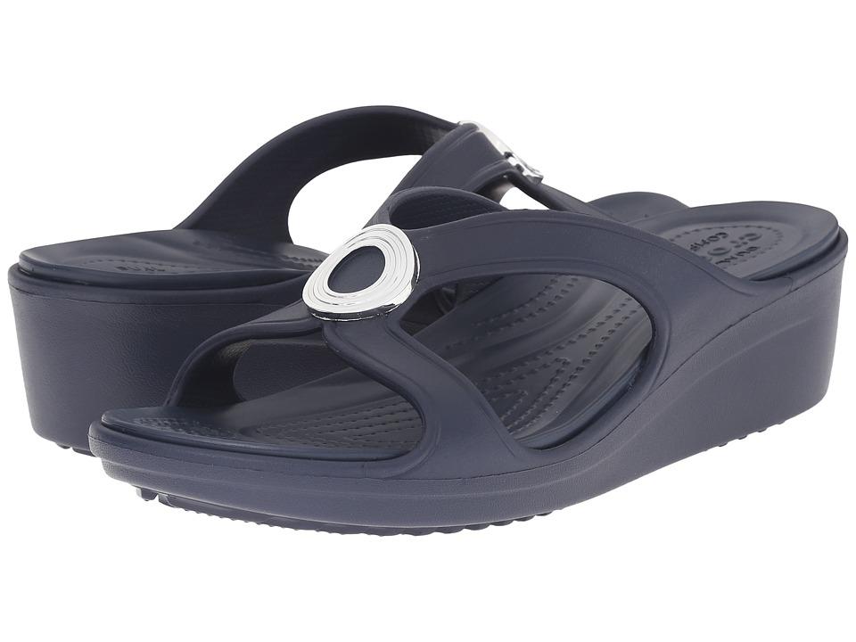Crocs - Sanrah Beveled Circle Wedge Sandal (Navy/Navy) Women's Wedge Shoes