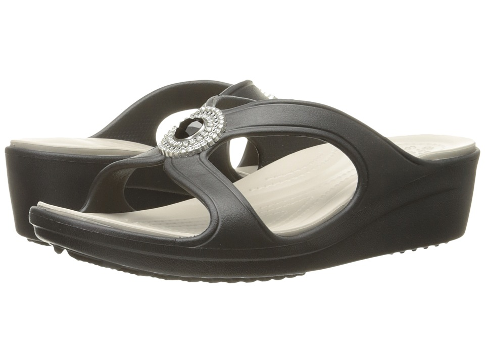 Crocs - Sanrah Beaded Wedge Sandal (Black/Platinum) Women's Wedge Shoes