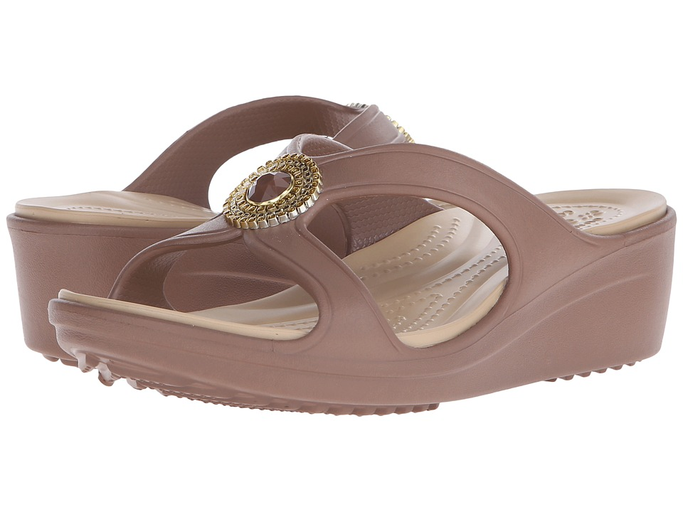 Crocs - Sanrah Beaded Wedge Sandal (Bronze/Gold) Women