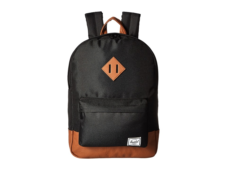 Herschel Supply Co. - Heritage Youth (Big Kids) (Black/Tan Synthetic Leather) Backpack Bags