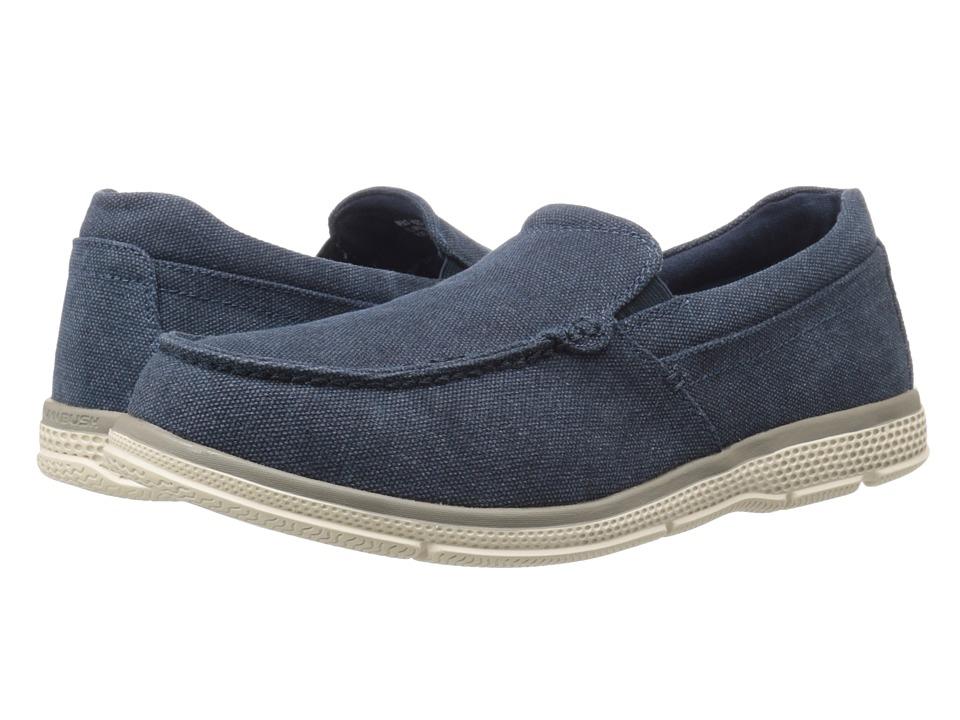 Nunn Bush - Zane Twin Gore Moc Toe Slip-On (Indigo Canvas) Men's Slip on Shoes