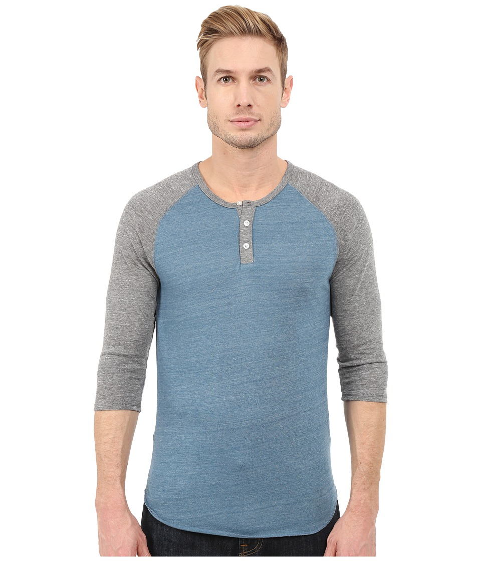 Alternative - Raglan Henley (Eco True Blue Ash) Men's Clothing
