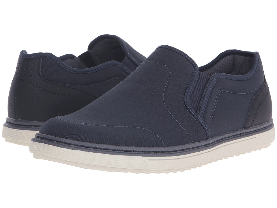 Nunn Bush Archie Twin Gore Plain Toe Slip-On (Navy) Men