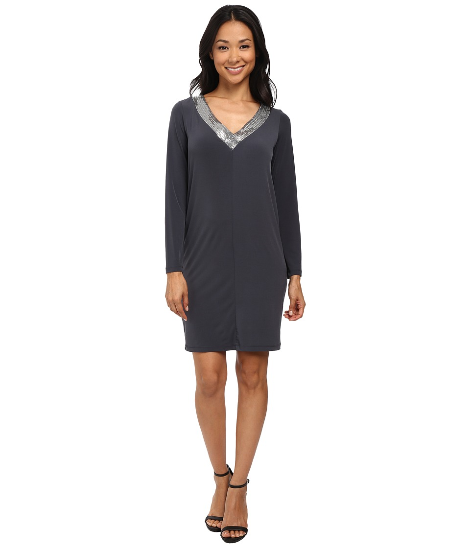 Calvin Klein Long Sleeve Jersey Dress with Sequin (Charcoal) Women