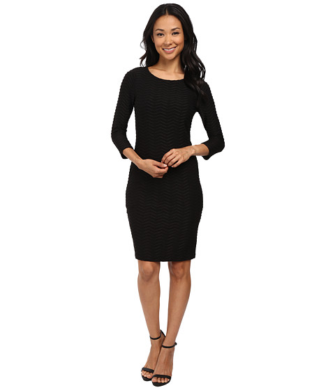 Calvin Klein - Textures Fit Flare Dress (Black) Women's Dress