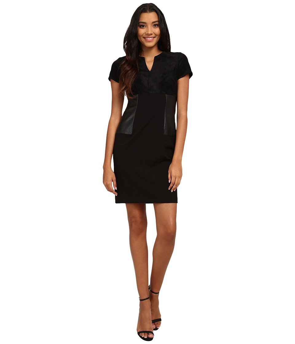 Calvin Klein - Short Sleeve Multi Media Sheath Dress (Black) Women's Dress