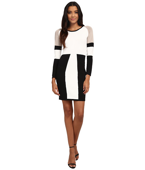 Calvin Klein - Color Block Sweater Dress (Cream/Black) Women