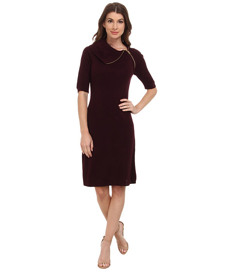 Calvin Klein - Short Sleeve Envelop Neck Dress (Aubergine) Women