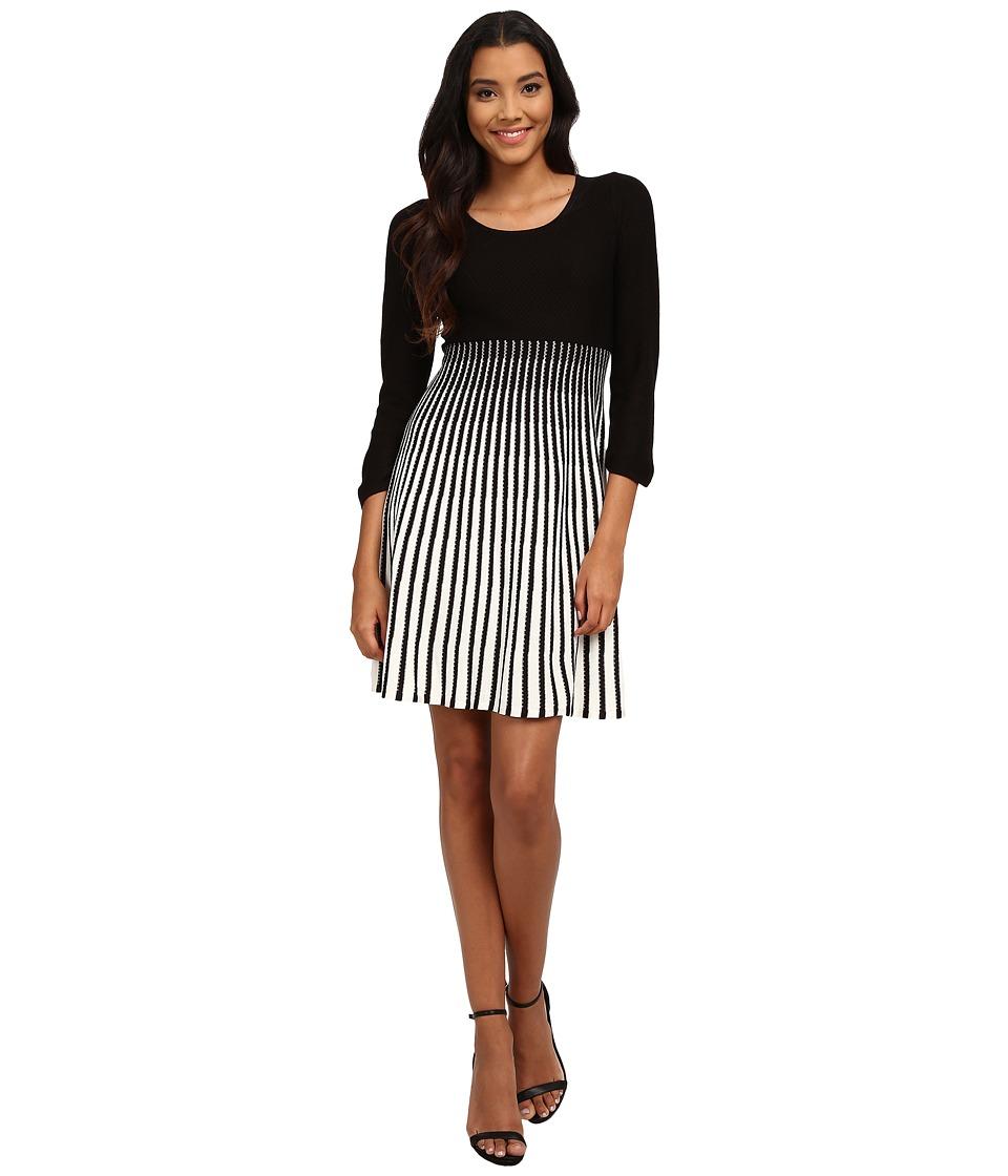 Calvin Klein - Color Block Fit Flare Dress (Black/Ivory) Women's Dress