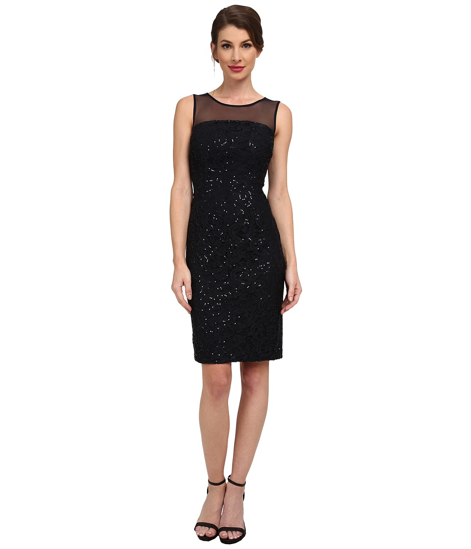 Calvin Klein - Sequin Dress with Illusion Yoke (Navy) Women's Dress