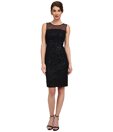 Calvin Klein - Sequin Dress with Illusion Yoke (Navy) Women